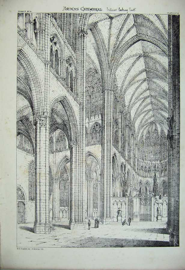 Print C1875 Amiens Cathedral Interior France Architecture 105C212 Old Original