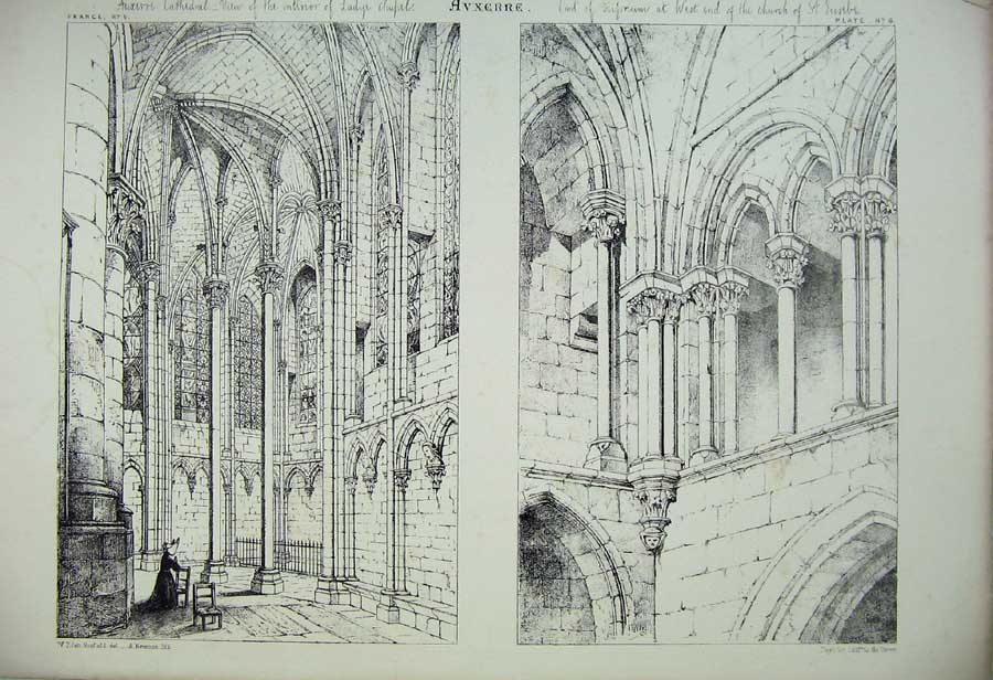 Print C1875 Avxerre Cathedral Lady Chapel France Architecture 107C212 Old Original