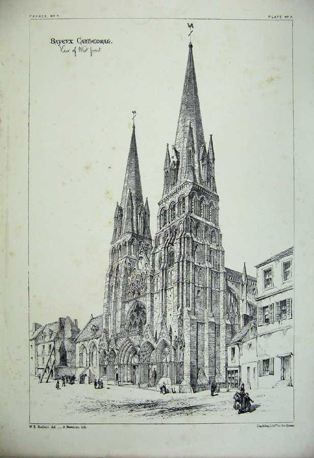 Print France Architecture Bayevx Cathedral View West Front 108C212 Old Original