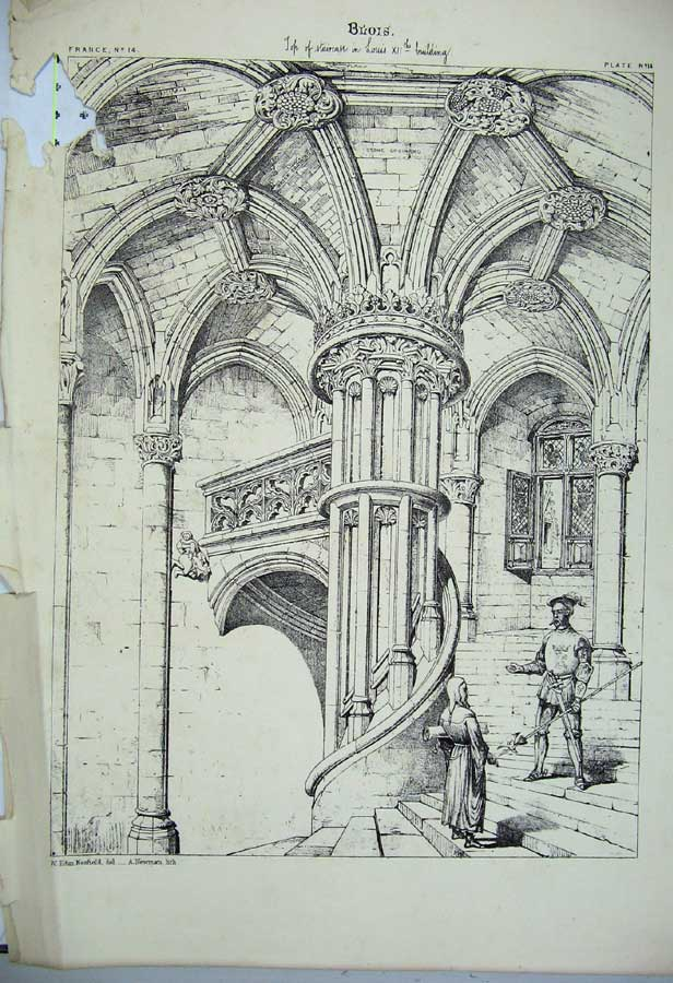 Print Blois Cathedral Staricase France Architecture C1875 115C212 Old Original