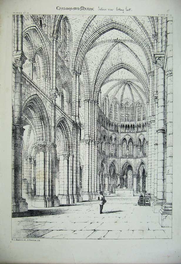 Print France Architecture Chalons-Svr-Marne Interior Church 119C212 Old Original