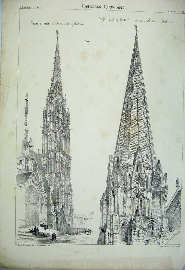 Print Chartres Cathedral Spire Tower France Cathedral C1875 122C212 Old Original