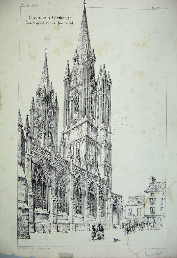 Print Covtances Cathedral Towers Spires France Architecture 126C212 Old Original