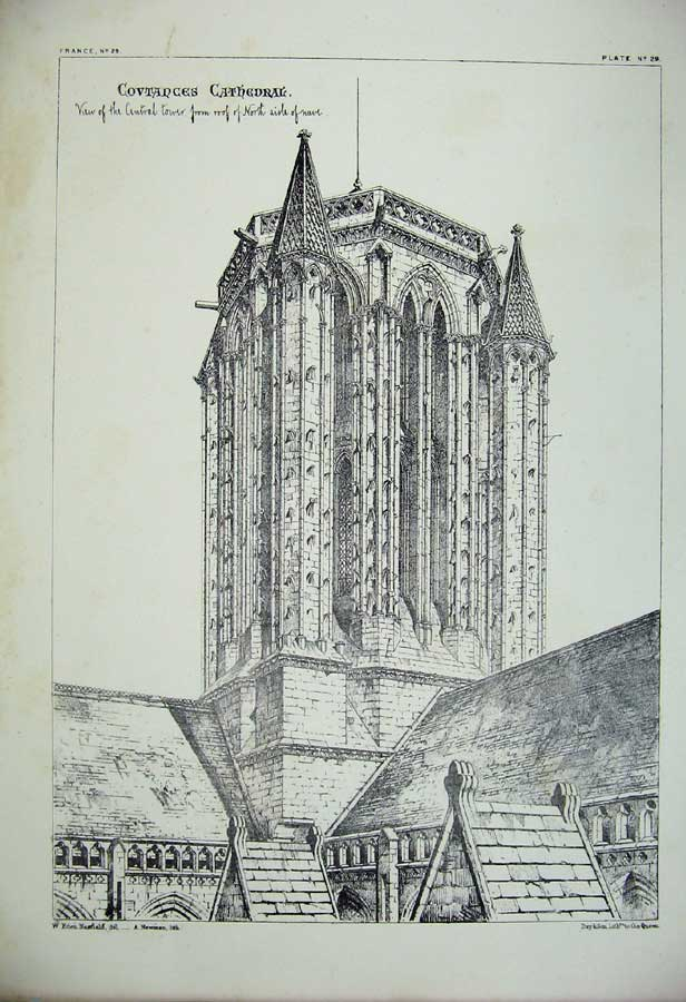 Print Covtances Cathedral Tower Nave Church Architecture 127C212 Old Original