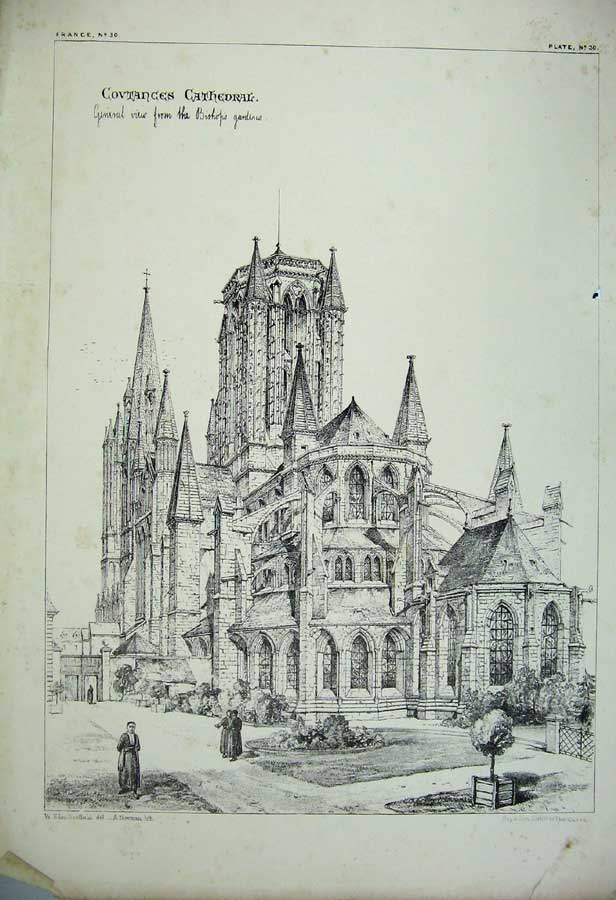 Print France Architecture Covtances Cathedral Church Garden 128C212 Old Original
