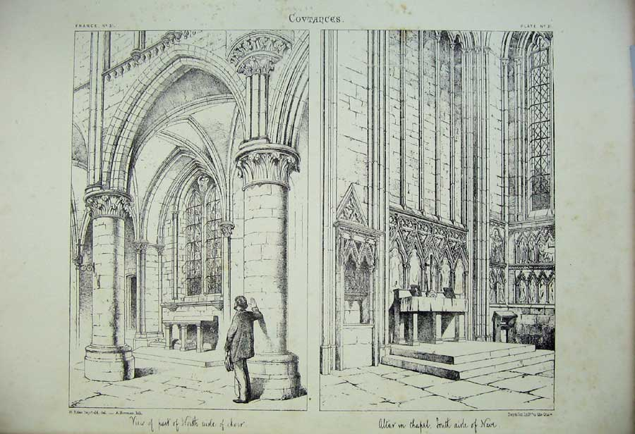 Print France Architecture Covtances Choir Altar Nave Church 129C212 Old Original
