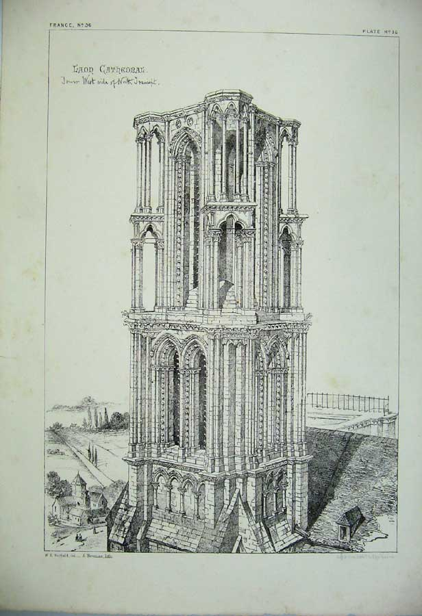 Print Laon Cathedral Tower Church France Architecture C1875 134C212 Old Original