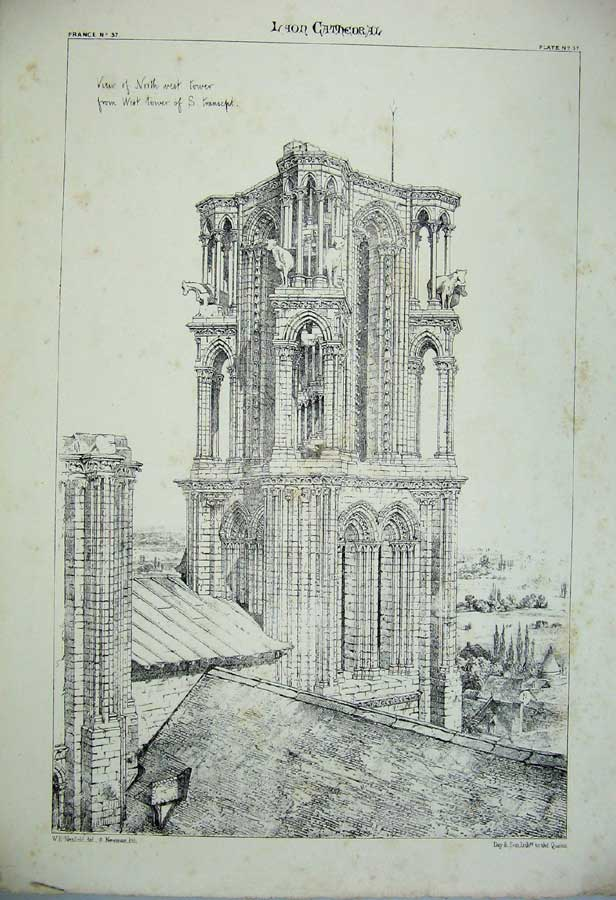 Print *0105 Laon Cathedral Tower Church France Architecture C1875 135C212 Old Original