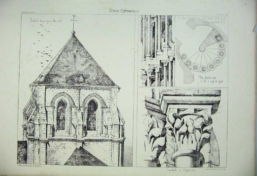 Print Laon Cathedral Tower Staircase Triforium France C1875 136C212 Old Original