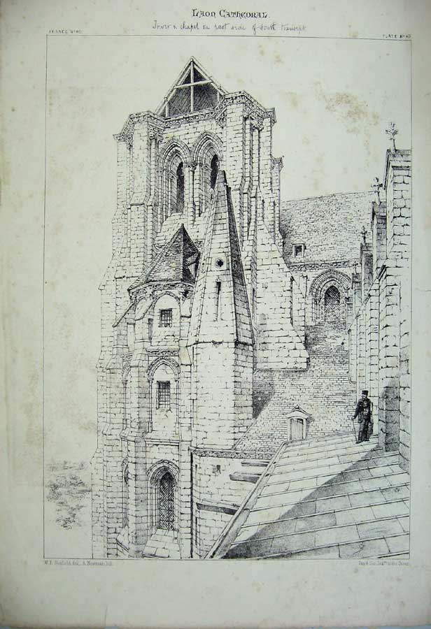 Print Laon Cathedral Tower C1875 France Architecture Church 137C212 Old Original