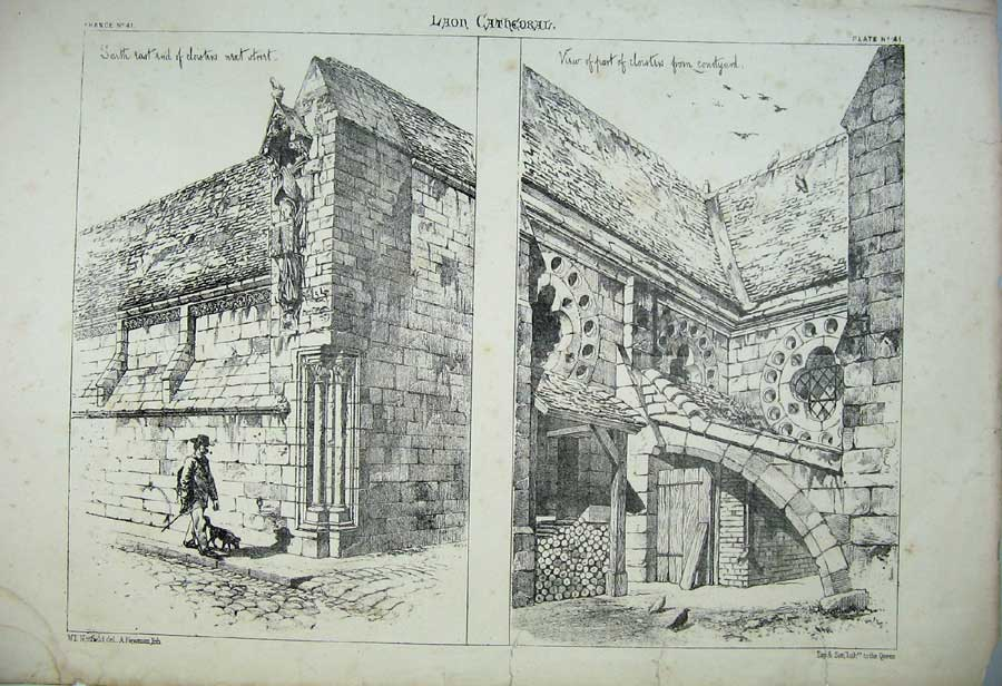 Print Laon Cathedral Cloisters Courtyard France Architecture 138C212 Old Original