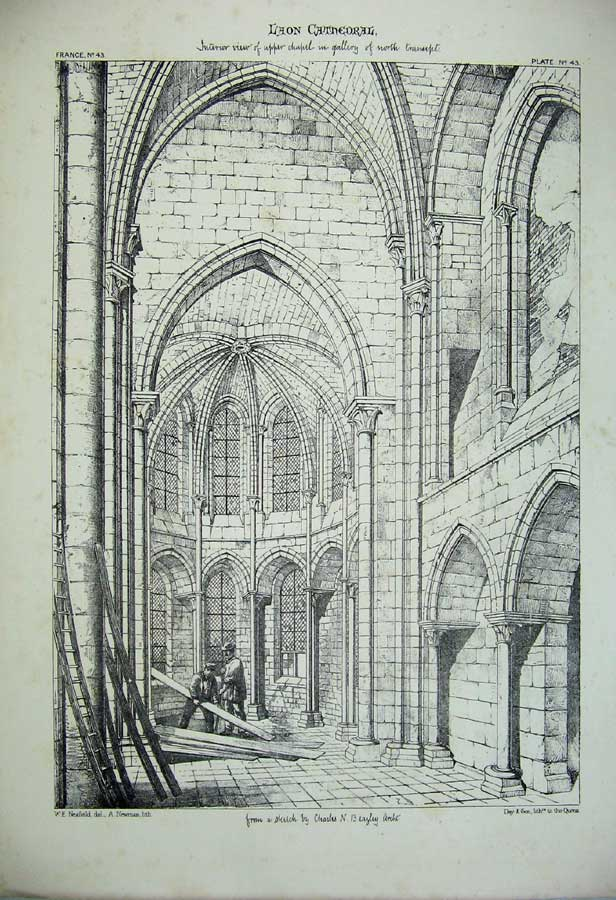 Print France Architecture Laon Cathedral C1875 Chapel Gallery 140C212 Old Original