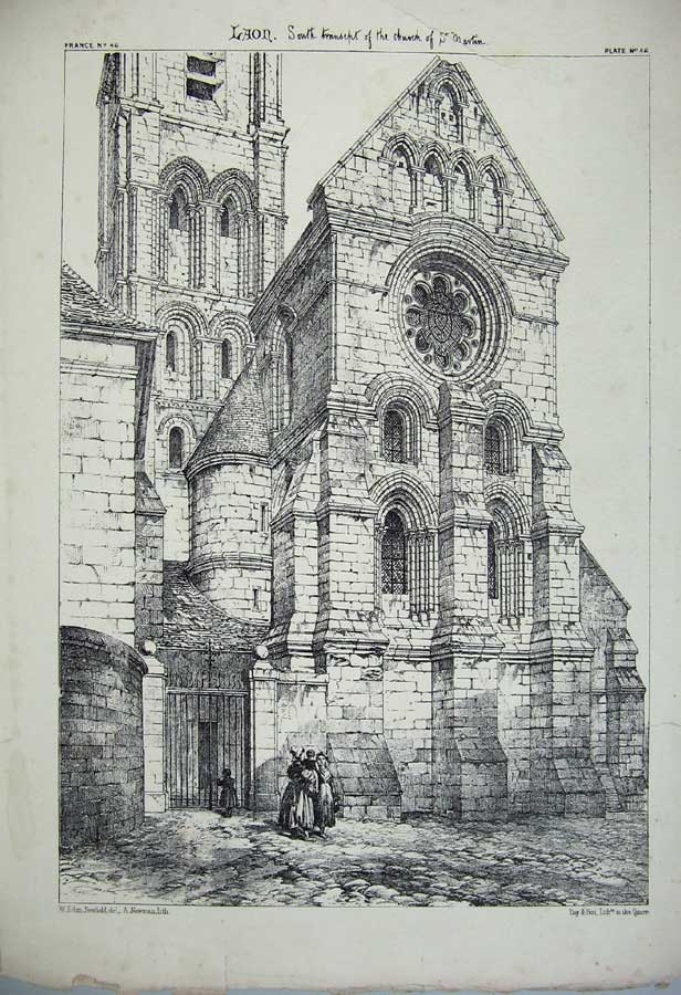 Print Laon Cathedral Church St Martin France Architecture 143C212 Old Original