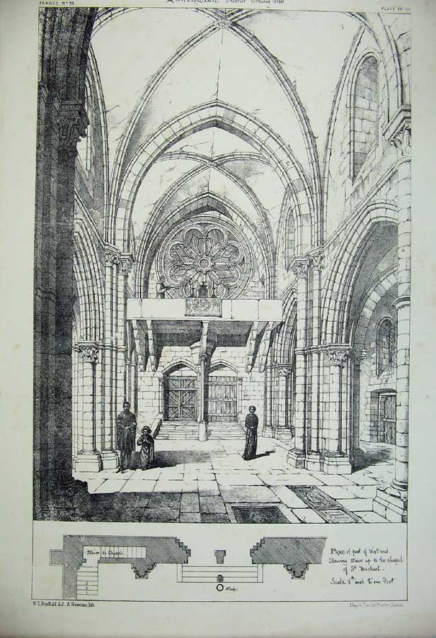Print Montreale Cathedral Interior Church France C1875 149C212 Old Original