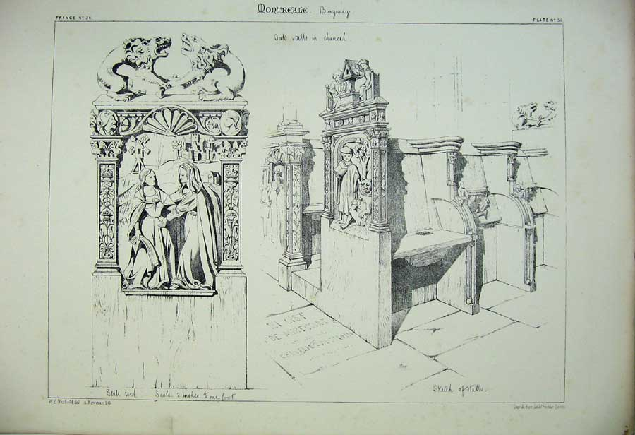 Print Montreale Oak Stalls Chancel Cathedral France Church 152C212 Old Original