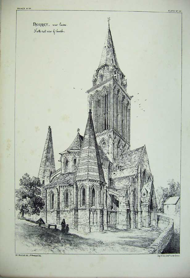 Print Norrey Church France Architecture Cathedral C1875 153C212 Old Original