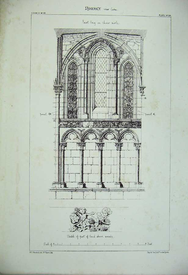 Print Norrey Church East Bay Choir Aisle France Architecture 154C212 Old Original