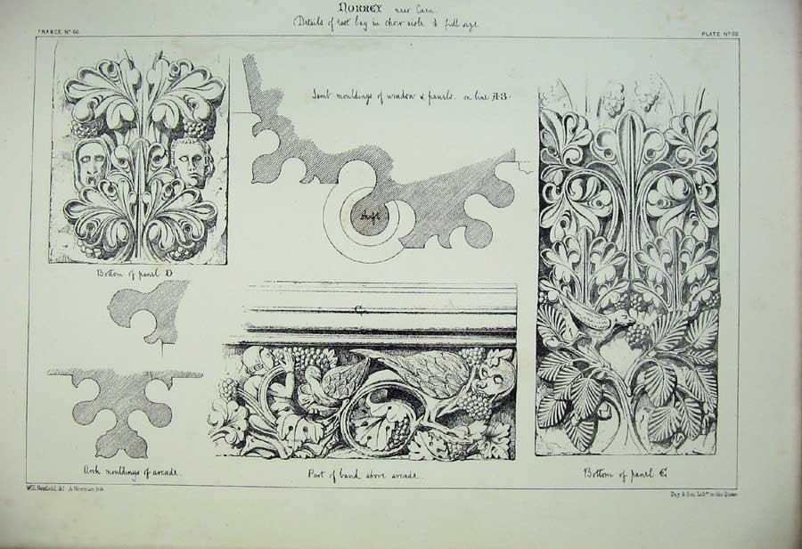 Print Norrey Mouldings Window Panels France Architecture 155C212 Old Original