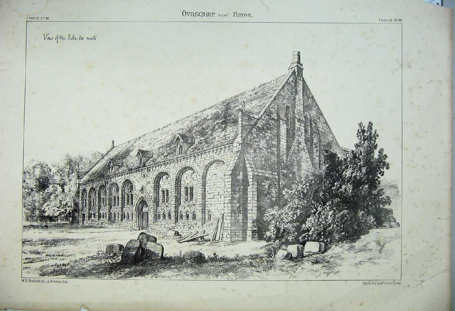 Print Ovrscamp Noyon Church France Architecture C1875 162C212 Old Original