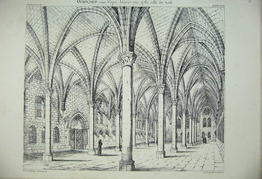 Print Ovrscamp Noyon Cathedral Interior Arches France C1875 163C212 Old Original