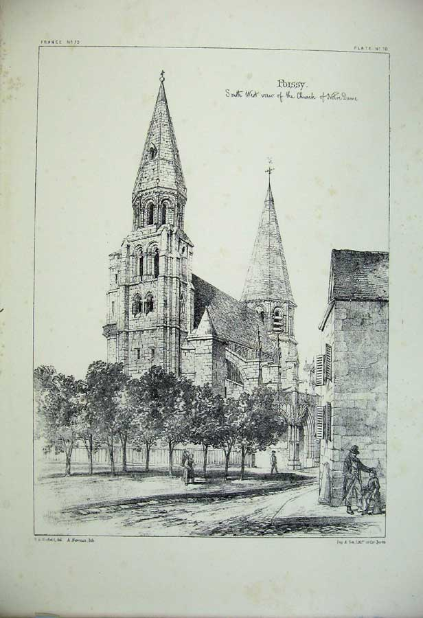 Print Poissy Church Notre Dame France Architecture C1875 164C212 Old Original