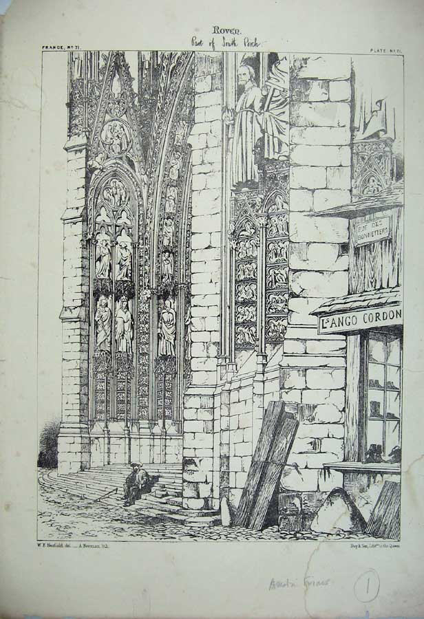 Print Roven South Porch Church France Architecture C1875 165C212 Old Original