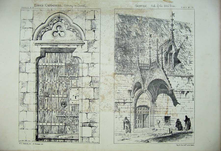 Print Roven Cathedral Beavne Porch Hotel Dieu France Church 166C212 Old Original