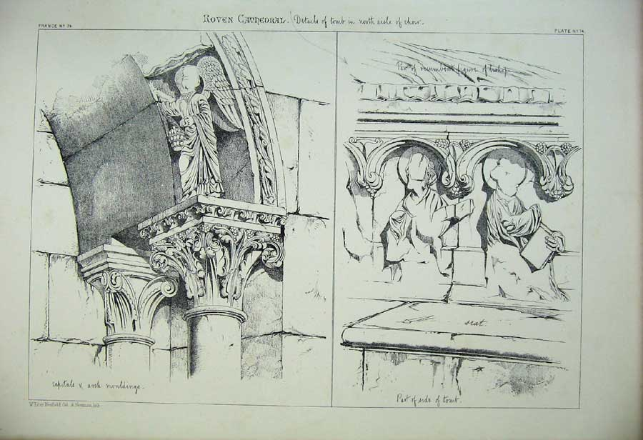 Print Roven Cathedral C1875 Tomb Aisle Choir France Cathedral 168C212 Old Original