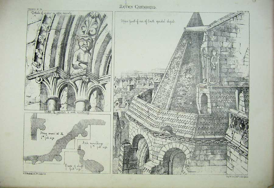 Print Roven Cathedral Window Apsidal Chapels France Arch 170C212 Old Original