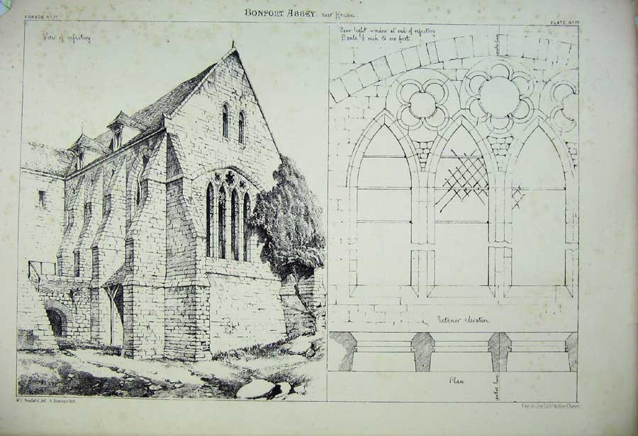 Print Bonport Cathedral Refectory Window France Architecture 171C212 Old Original