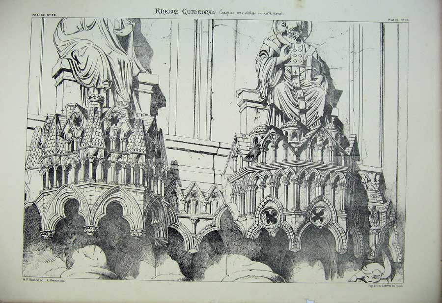 Print Rheims Cathedral Canopies Porch France Architecture 173C212 Old Original