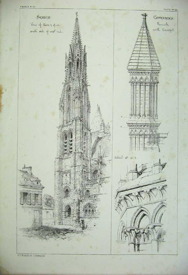 Print Senlis Covtanges Tower Spire Cathedral Architecture 174C212 Old Original
