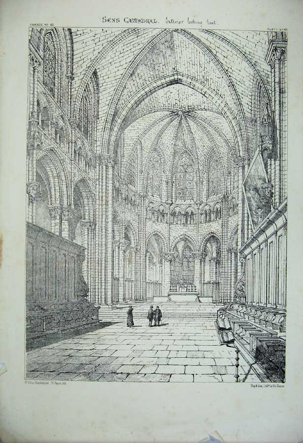 Print Sens Cathedral Interior Church France Architecture 175C212 Old Original