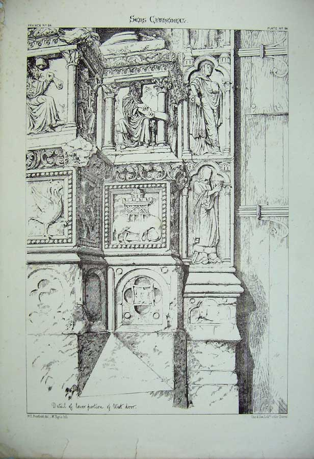 Print Sens Cathedral West Door France Architecture Church 176C212 Old Original