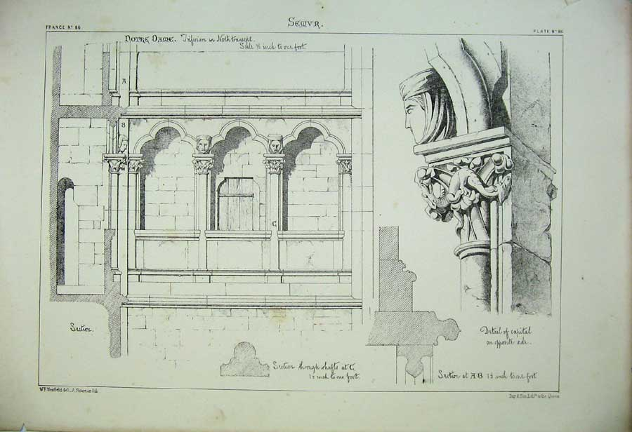 Print Semvr Cathedral Notre Dam France Architecture C1875 178C212 Old Original