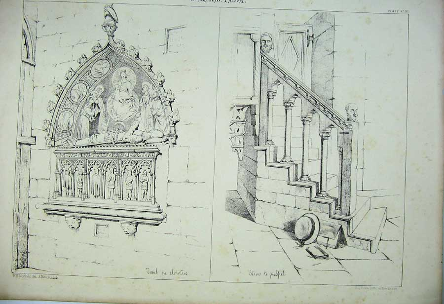 Print Italy Architecture Tomb Cloisters Stairs Pulpit Church 185C212 Old Original