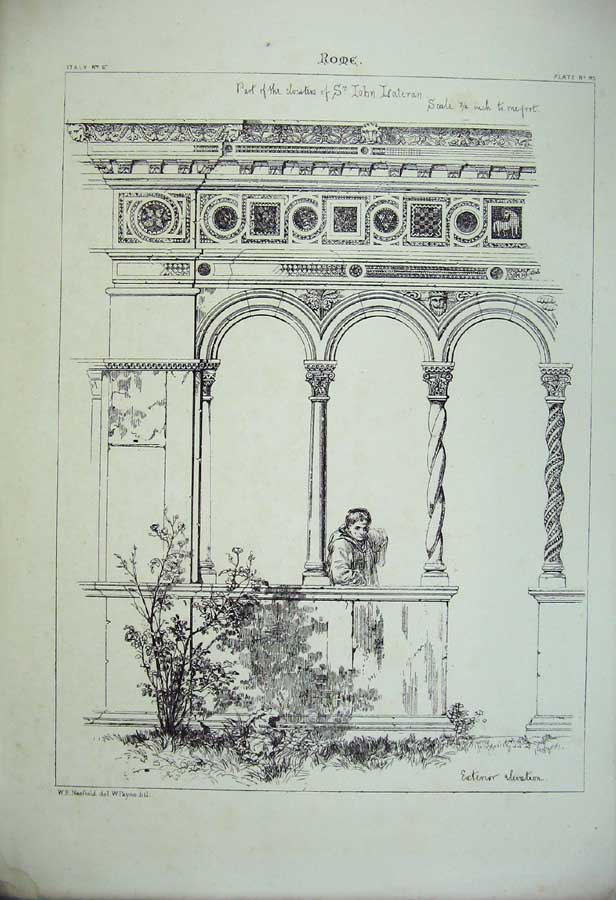Print Italy Architecture Rome Cloisters Lateran Cathedral 186C212 Old Original