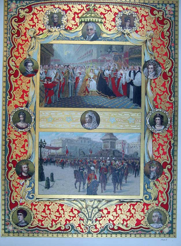 Print Colour Royal Queen Throne Procession Royalty 108C214 Old Original