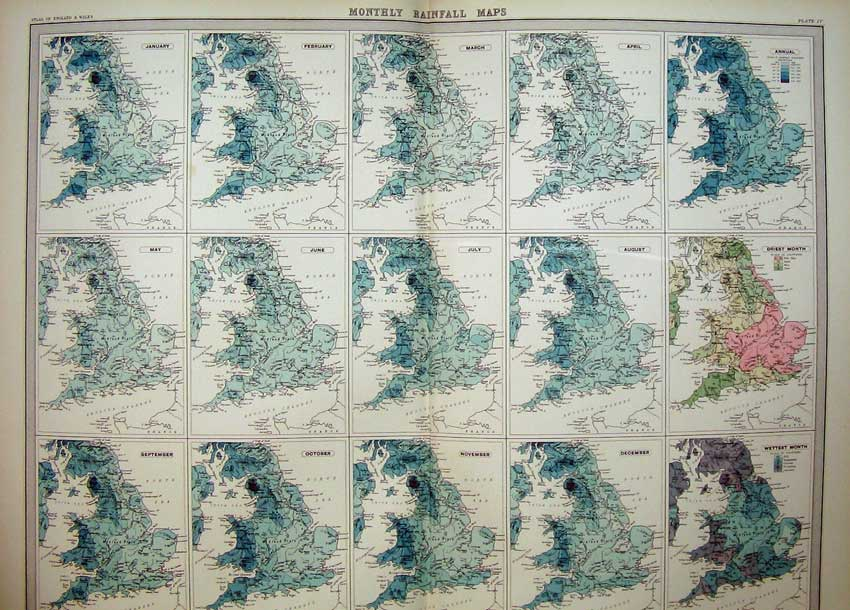 Print Monthly Rainfall Maps Atlas England Wales Wettest Month 004C215 Old Original
