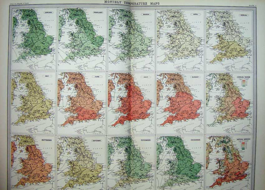 Print Monthly Temperature Maps England Wales Atlas Yearly 005C215 Old Original