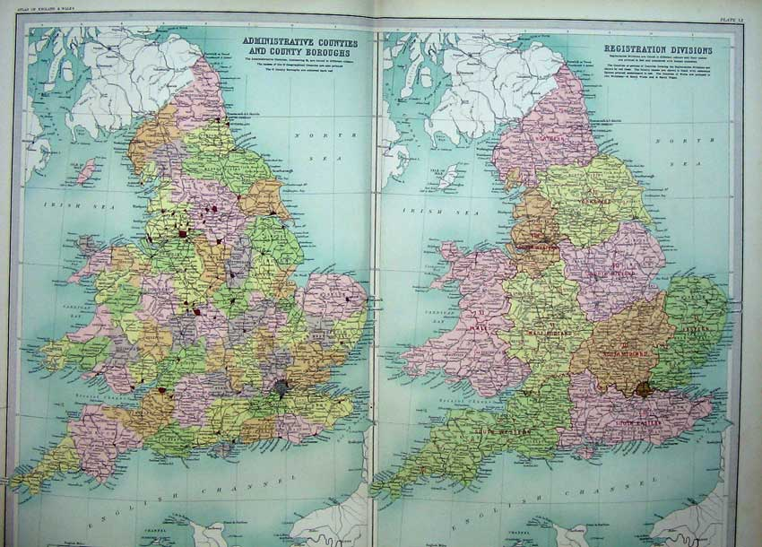 Print Counties Registration Divisions England Wales Boroughs 009C215 Old Original