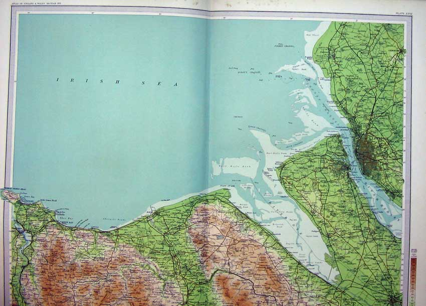 Print Atlas England Liverpool Denbigh Irish Sea Birkenhead 027C215 Old Original