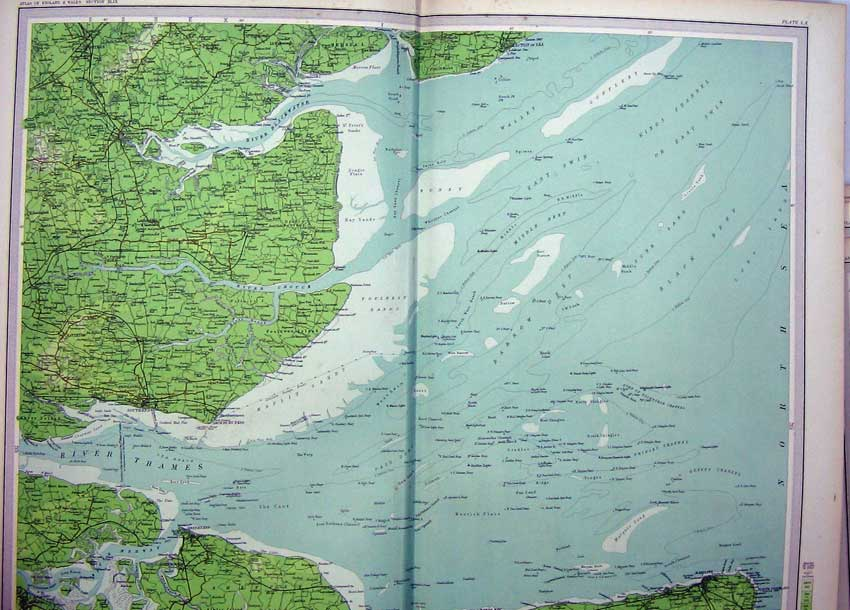 Print England Atlas River Thames Estuary Southend Sheerness 060C215 Old Original