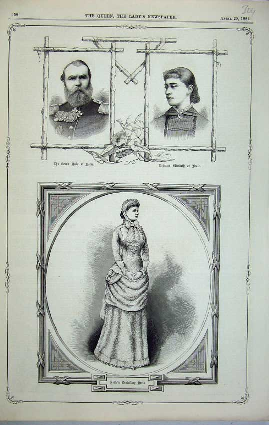 Print 1882 Duke Gesse Princess Elizabeth Bride Louise Philip 304C218 Old Original