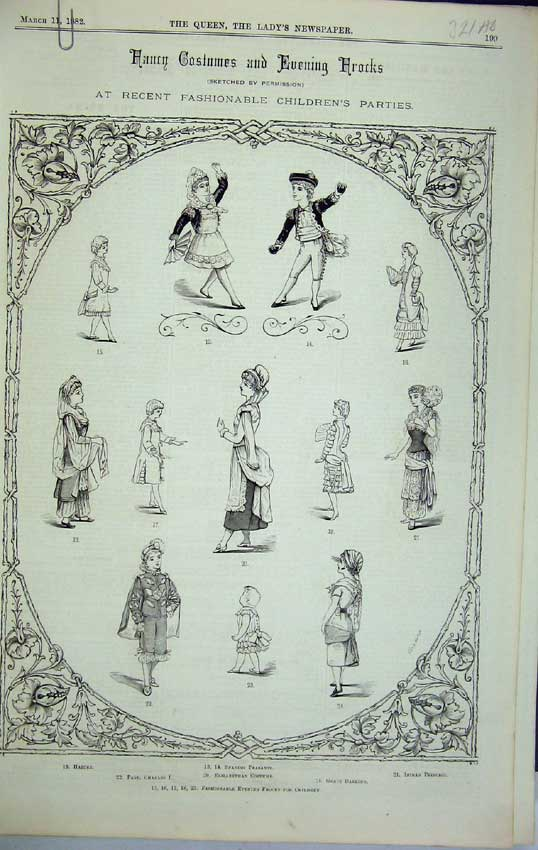 Print 1882 Childrens Fashion Costumes Gipsy Flower Peasant 321C218 Old Original