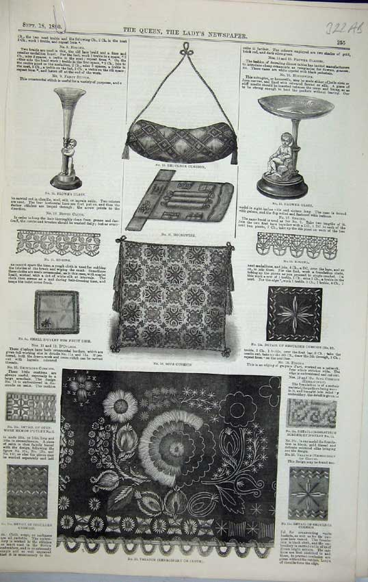 Print 1880 Embroidery Valance Cushion Table Cloth Patterns 322C218 Old Original