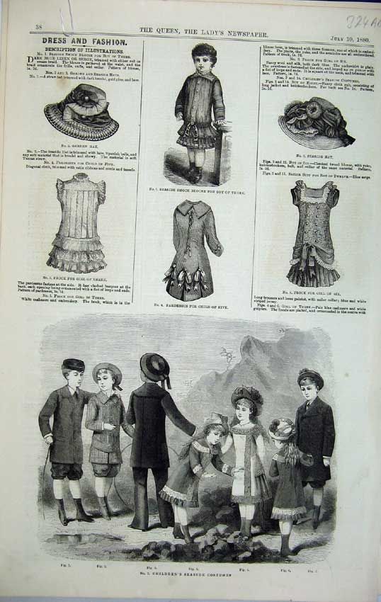 Print Childrens Costumes 1880 Bonnet Hat Promenade Sea-Side 324C218 Old Original