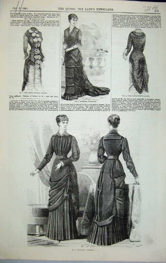Print 1880 Womens Fashion Costume Toilette Collar Jabot Fichu 328C218 Old Original