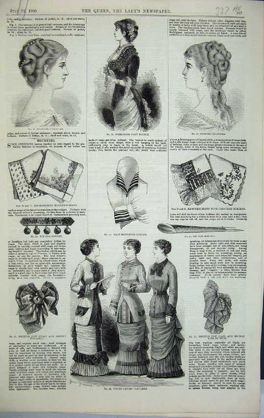 Print 1880 Womens Fashion Costumes Bodice Dresses Toilettes 337C218 Old Original