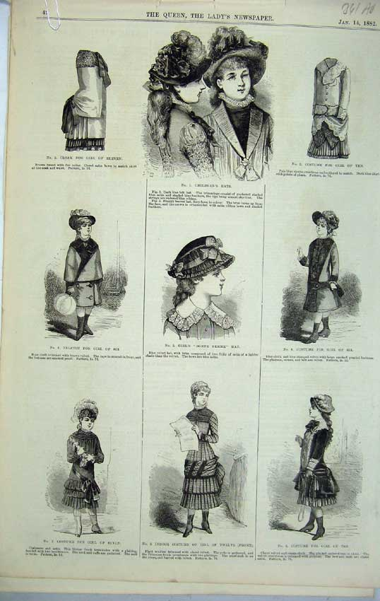 Print 1882 Womens Fashion Costume Girl Bonnet Bridal Robe 341C218 Old Original